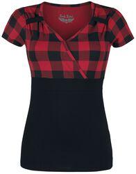 T-Shirt Look Rockabilly Noir/Rouge