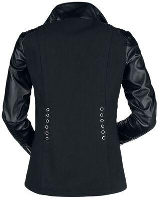 Veste Noire Style Motard Œillets Décoratifs