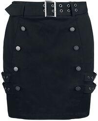 Mini Jupe Noire Avec Double Boutonné & Boucles