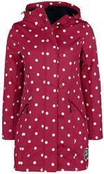Manteau Rouge pour Femme Softshell avec Pois Blancs