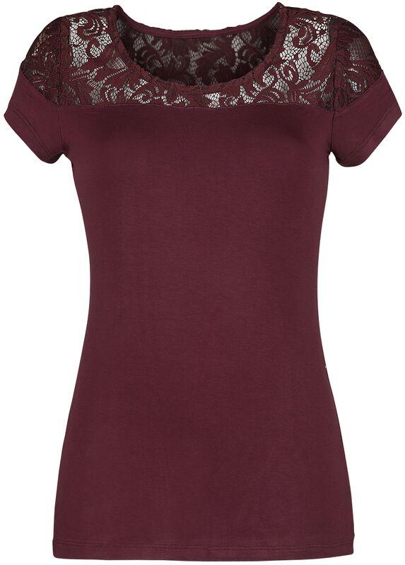 T-Shirt Bordeaux Avec Empiècements Dentelle