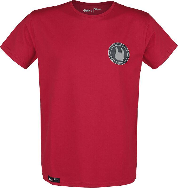 T-Shirt Rouge Col Ras-Du-Cou