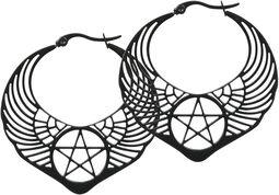 Boucles d'Oreille Créoles Pentagrammes Ailés