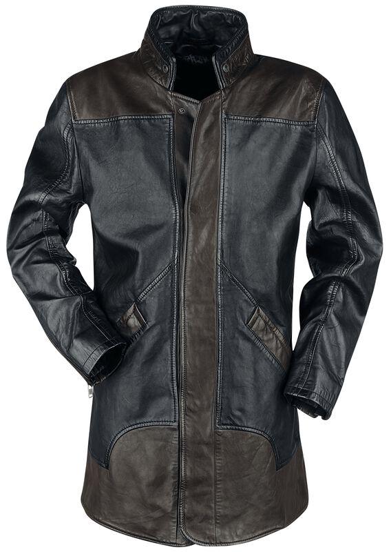 Manteau En Cuir Marron/Noir Zippé Dans Le Dos