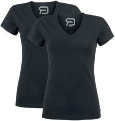 T-Shirt Noir Col En V - Lot De 2