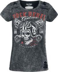 T-Shirt Noir Col Rond & Imprimé