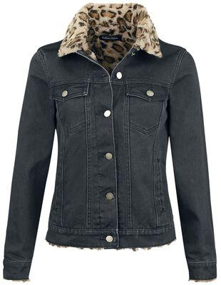 Veste en jean avec imprimé léopard