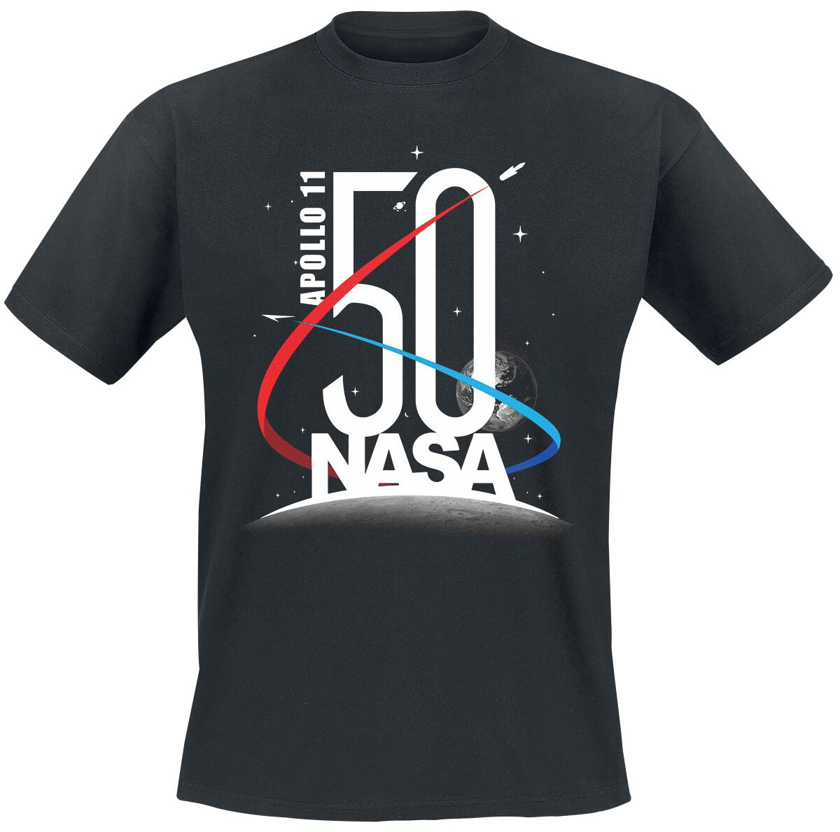Nasa Apollo 11-50eme Anniversaire T-Shirt Manches Courtes Noir