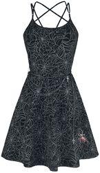 Gothicana X Anne Stokes - Robe Noire Courte Avec Imprimé & Ceinture Chaîne