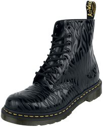 1460 Pascal Black Zebra Gloss Emboss Smooth 8 Eye Boot