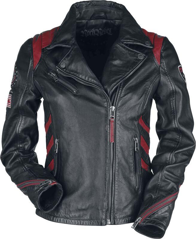 Veste En Cuir Motard Rouge/Noir Avec Patchs