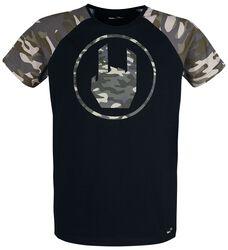T-Shirt Noir  Imprimé Rockhand Camouflage