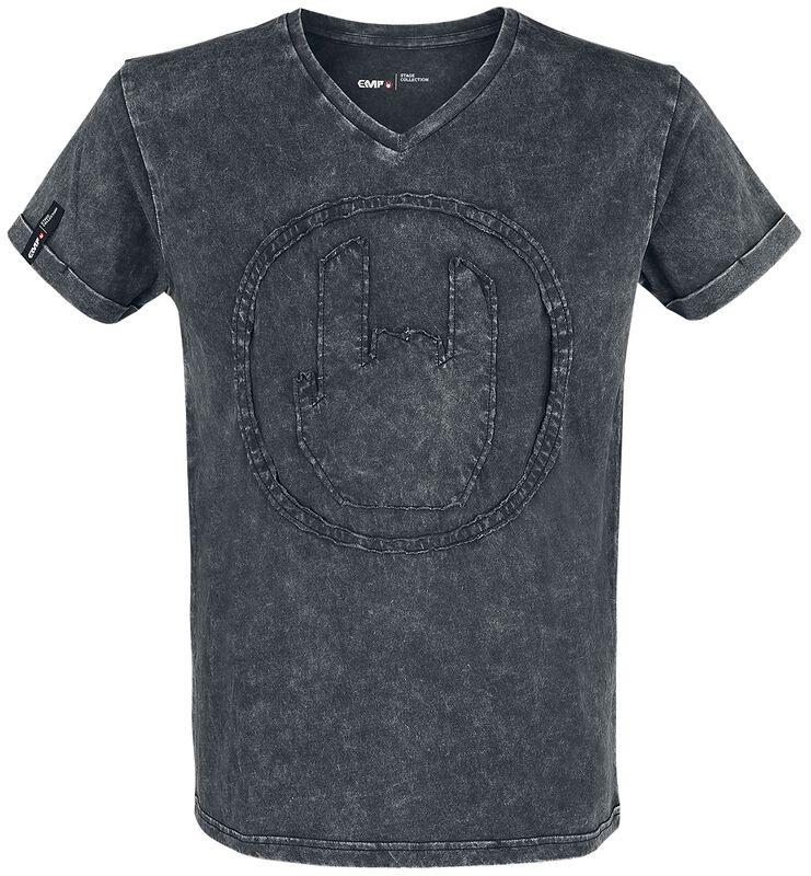 T-Shirt Gris Délavé Appliqué Rockhand