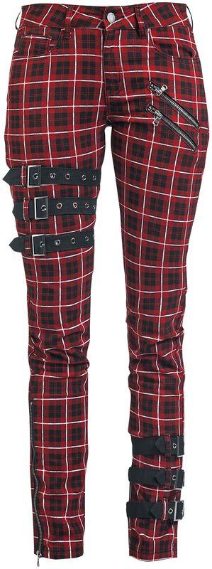 Skarlett - Pantalon Rouge & Noir Avec Boucles