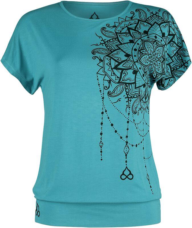 Sport & Yoga - T-Shirt Décontracté Turquoise Avec Imprimé Détaillé