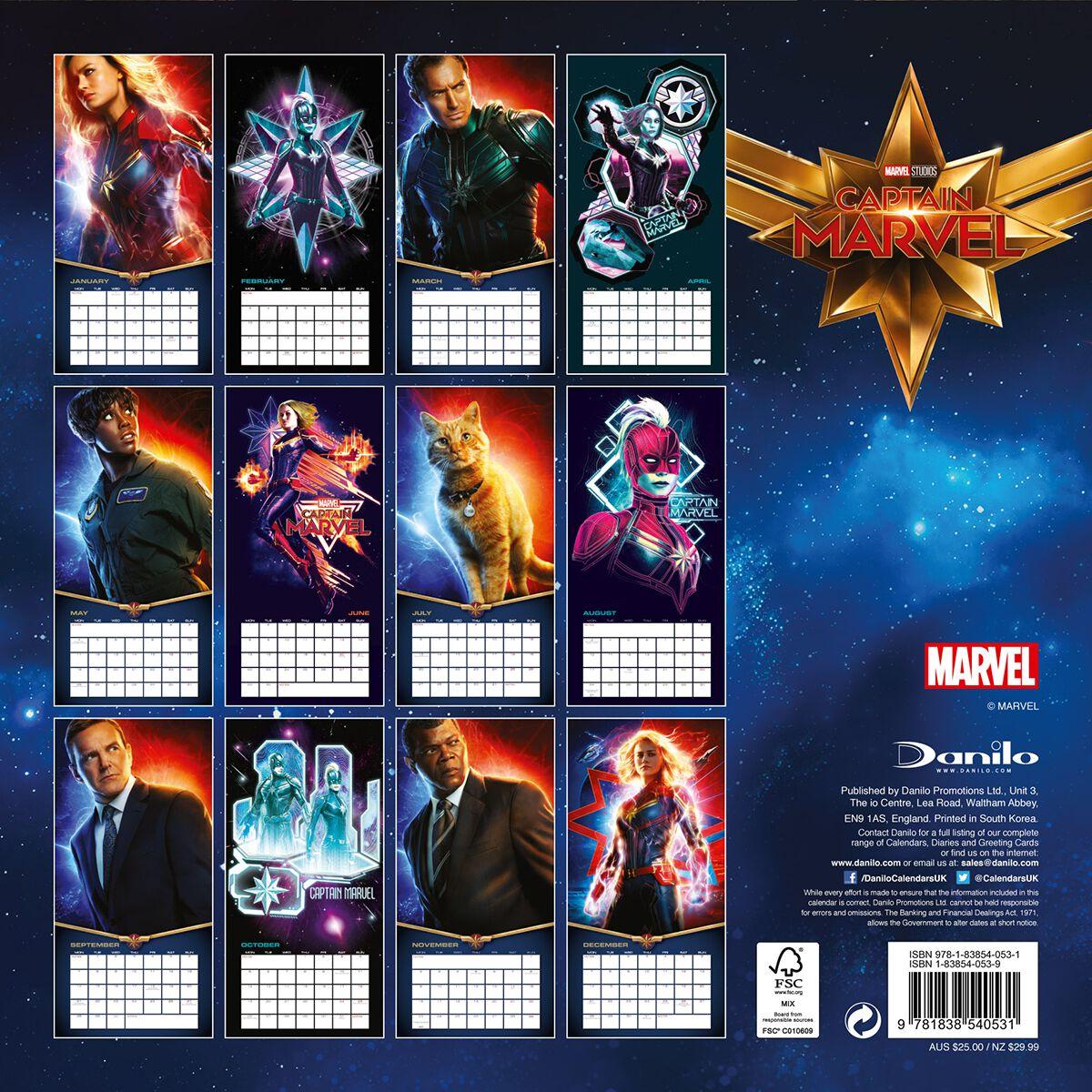 Marvel Calendrier.Captain Marvel Calendrier Mural 2020