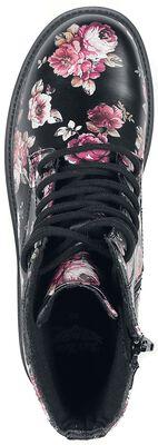 Bottines Lacées Noires Imprimé Floral