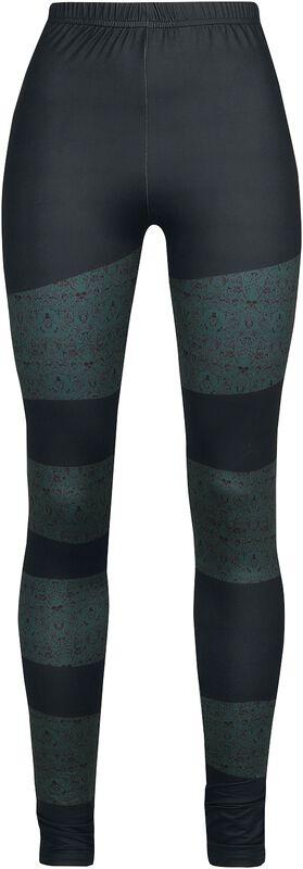 Leggings Noir Rayures Colorées Et Motif Crânes