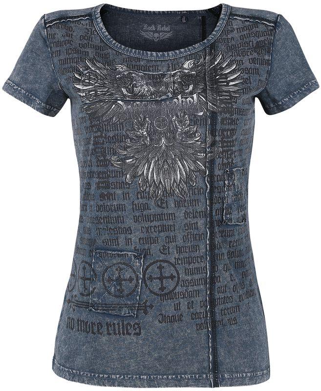 T-Shirt Bleu Délavé & Imprimé