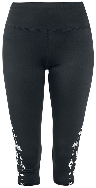 Sport and Yoga - Black 3/4 Leggings with Side Print