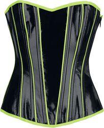 Schwarze Korsage im Lack Look mit neonfarbenen Details