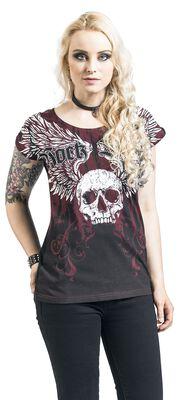 T-Shirt Imprimé & Col Rond Noir/Rouge