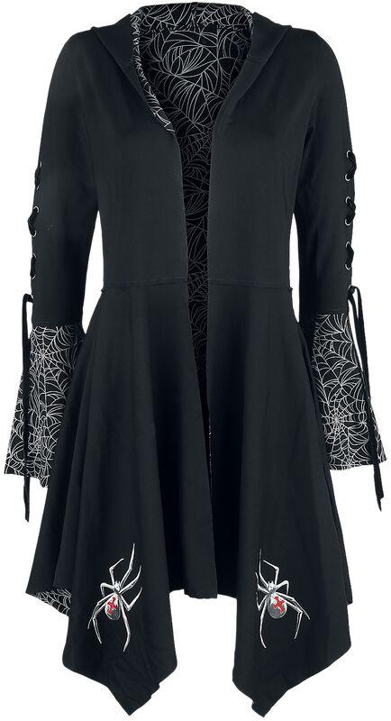 Gothicana X Anne Stokes - Gilet Noir Avec Capuche, Laçage & Manches Évasées