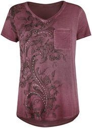 T-Shirt Bordeaux Imprimé Avec Strass