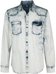 Chemise En Jean Bleue Délavée Avec Poches Poitrine