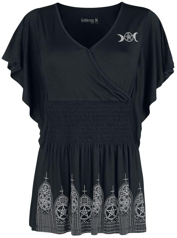 T-Shirt Noir Imprimé & Froncé