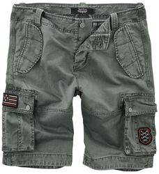 Graue Cargo Shorts mit Patches