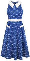 Robe Swing Années 40 À Pois Bleue Et Blanche