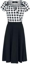 Robe Style Années 50 Noir/Blanc Avec Partie Supérieure À Carreaux
