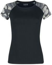 Schwarzes T-Shirt mit Camouflage Ärmeln