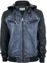 Veste Capuche Denim Leatherlook