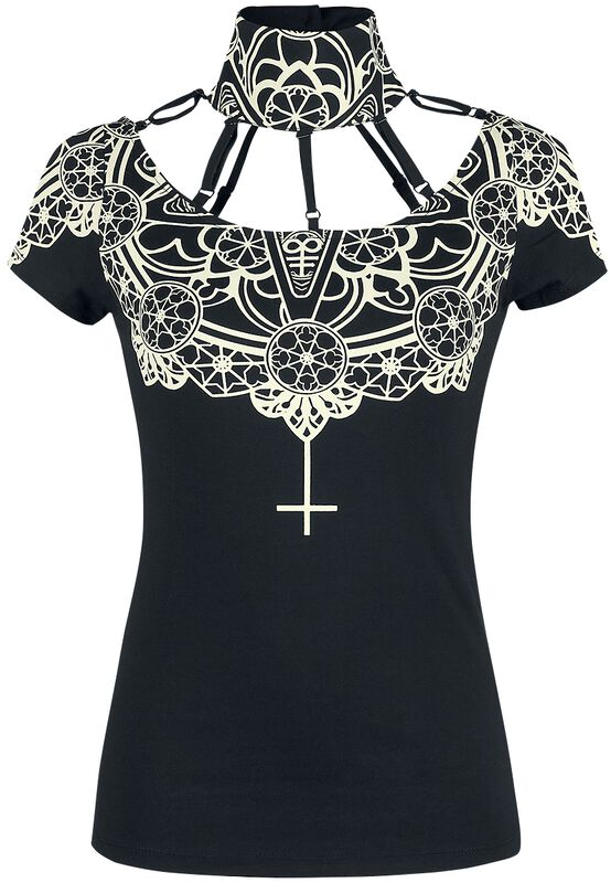 Black T-shirt with Particular Neckline and Print