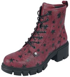 Dark Red Lace-Up Boots with Star Print