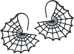 Boucles d'Oreille Toile d'Araignée Noire