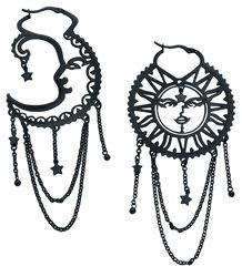 Boucles d'Oreille Soleil & Lune Oldschool