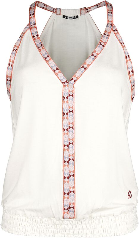 RED X CHIEMSEE - Haut Blanc Avec Coutures Multicolores