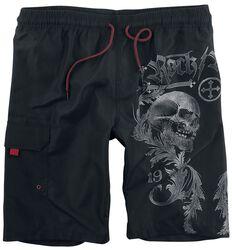 Schwarze Badeshorts mit seitlichem Skull-Print