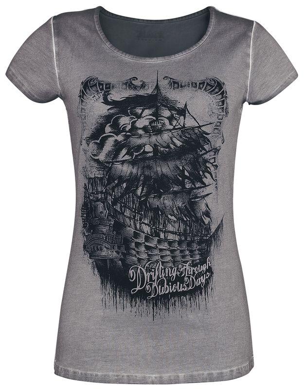T-Shirt Gris Délavé avec Imprimé
