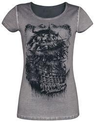 Graues T-Shirt mit Waschung und Print