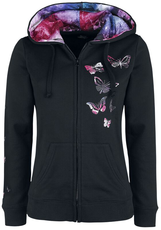 Veste À Capuche Noire Imprimé Papillons
