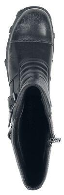 Schwarze Boots mit Steppung am Schaft und Schnallen