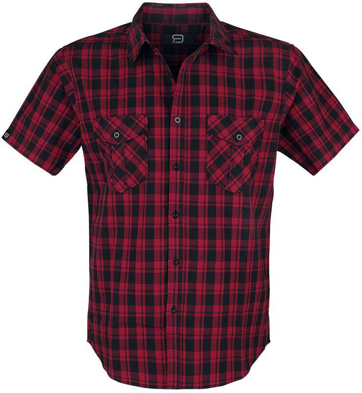Chemise Manches Courtes Noire/Rouge À Carreaux Avec Poches Poitrines