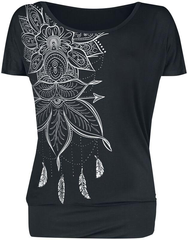 T-Shirt Noir Imprimé & Col Rond