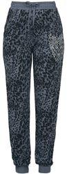 Pantalon En Tissu Gris/Noir Imprimé Animal & Strass