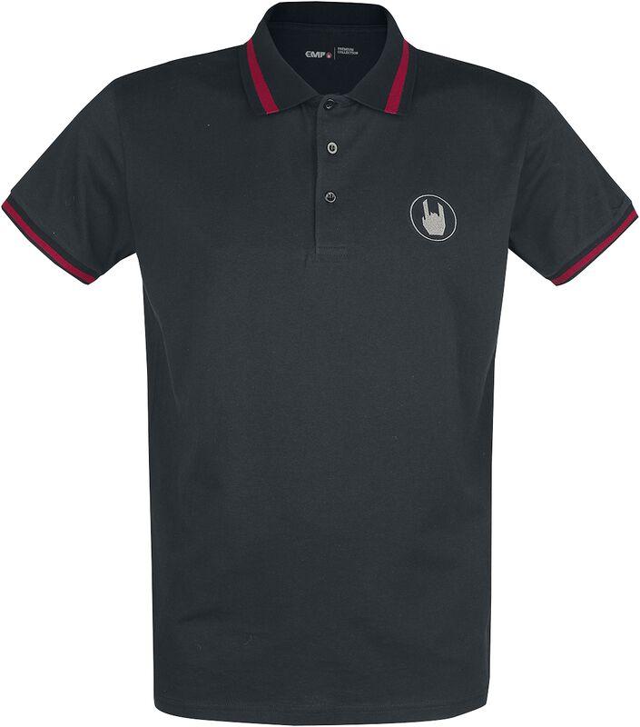 Polo Noir Avec Broderies et Détails Rouges