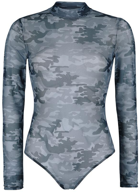 Schwarzer semitransparenter Body mit Camouflage-Muster